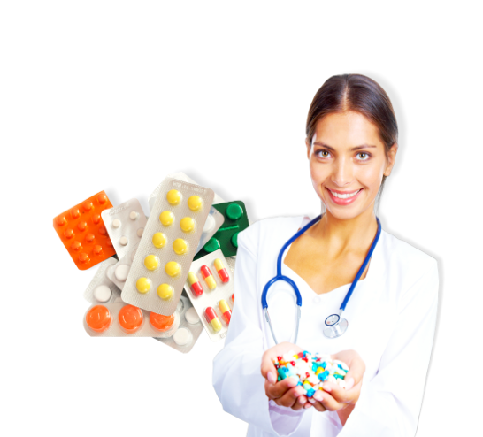 female nurse holding medicines